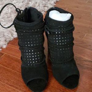 Black bootie lace up shoes